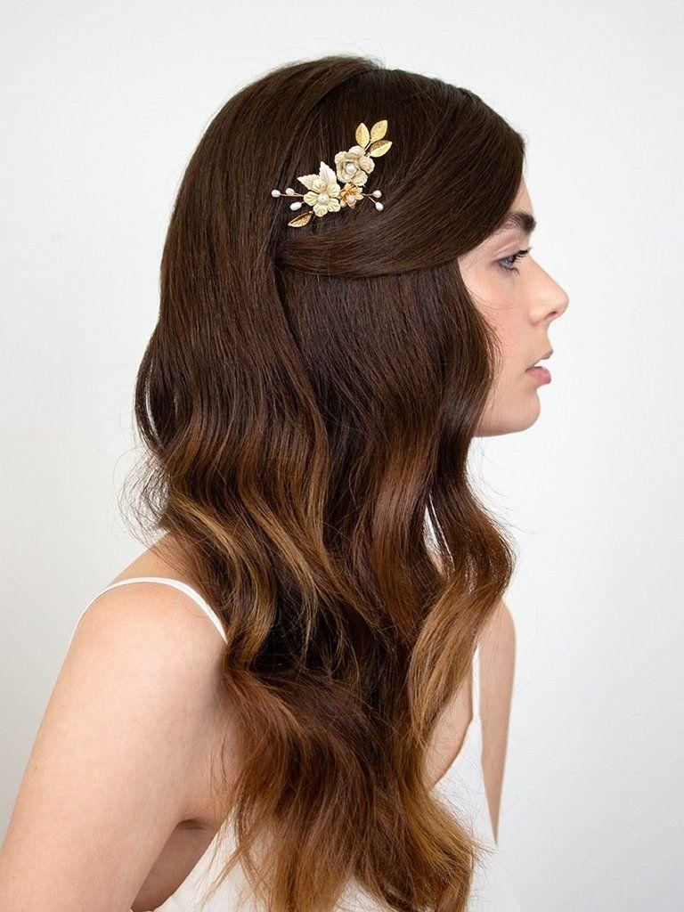 braut-haarkamm mit blüten und perlen, gold - marilyn (mit