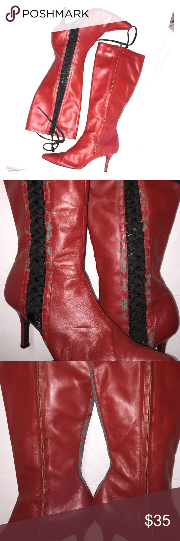 Susan Lucci red leather with black lace boots:TLC These are red leather with black lace up the souls and the taps are in great condition the leather has rubbed off quite bad all over the boot especially on the sides and in the back I'm positive these can be re-dyed they are leather upper size 10 W man-made materials for the balance of the heel measures 3 inches these are priced accordingly d's do you need TLC SUSAN LUCCI Shoes Heeled Boots