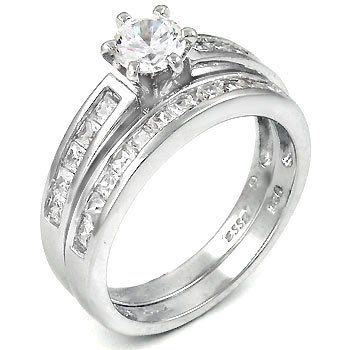sterling silver cubic zirconia cz wedding engagement ring set for only 3888 - Wedding And Engagement Ring Set