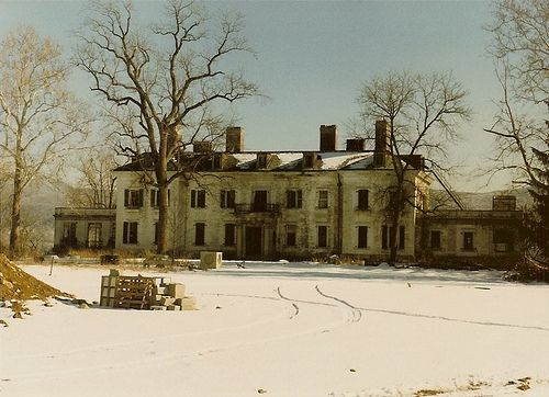 abandoned mansion in winter.