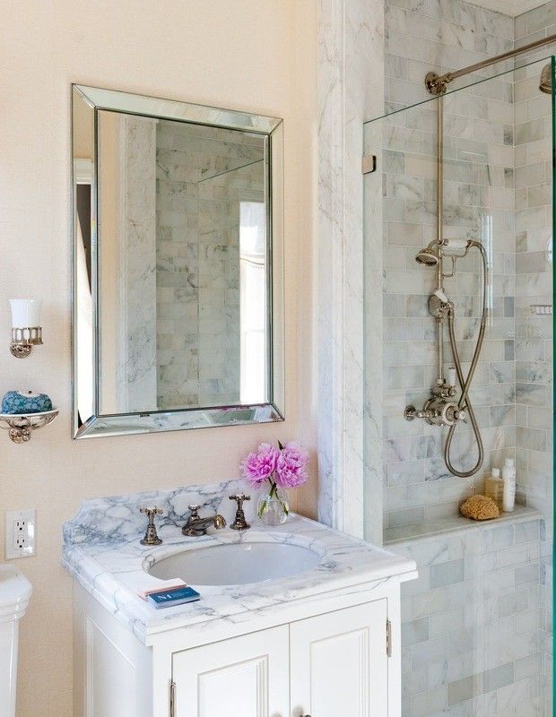 Small Bathroom Remodel With Mirrored Shower Door Small Bathroom
