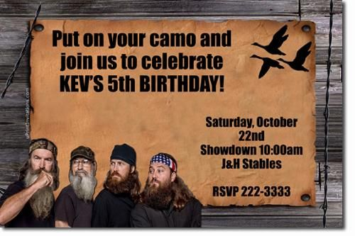 Download Now Free Template Duck Dynasty Birthday Party Invitations