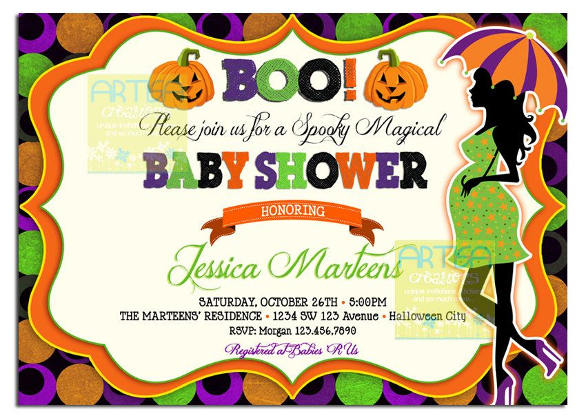 How To Throw Halloween Themed Baby Shower Invitation | Baby Shower ...