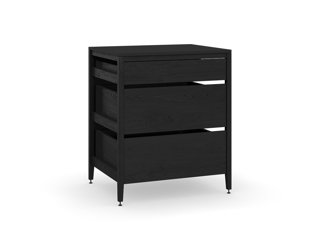 Coquo Radix Midnight Black Stained Oak Solid Wood Modular 3 Drawers Base Kitchen Cabinet 30 Inch C1 C 30tb 3002 Bk Black Stains Oak Kitchen Cabinets