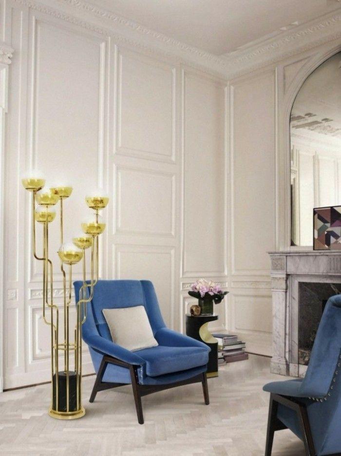 wohnideen wohnzimmer wunderschöne stehlampe und blaue sessel - wohnzimmer ideen blau
