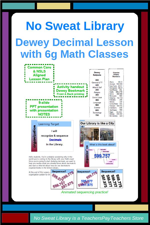 Nosweat Dewey Decimal Lesson With 6th Grade Math Classes My Tpt