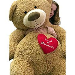 Big Plush 5 Feet Tall Soft Teddy Bear With Personalized His And Her Name Embroidered On Heart Valentines Day Teddy Bear Teddy Bear Pictures Teddy