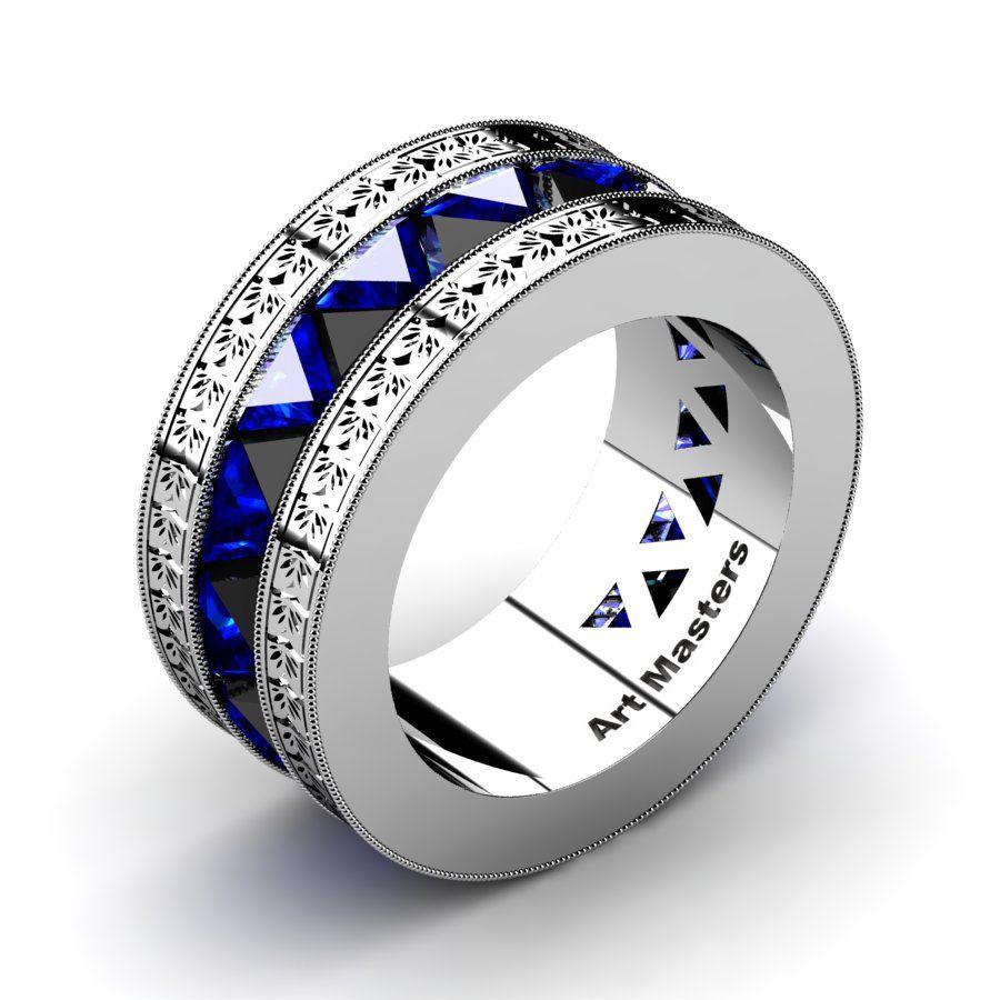 Mens Modern Italian 950 Platinum Triangle Black Diamond Blue