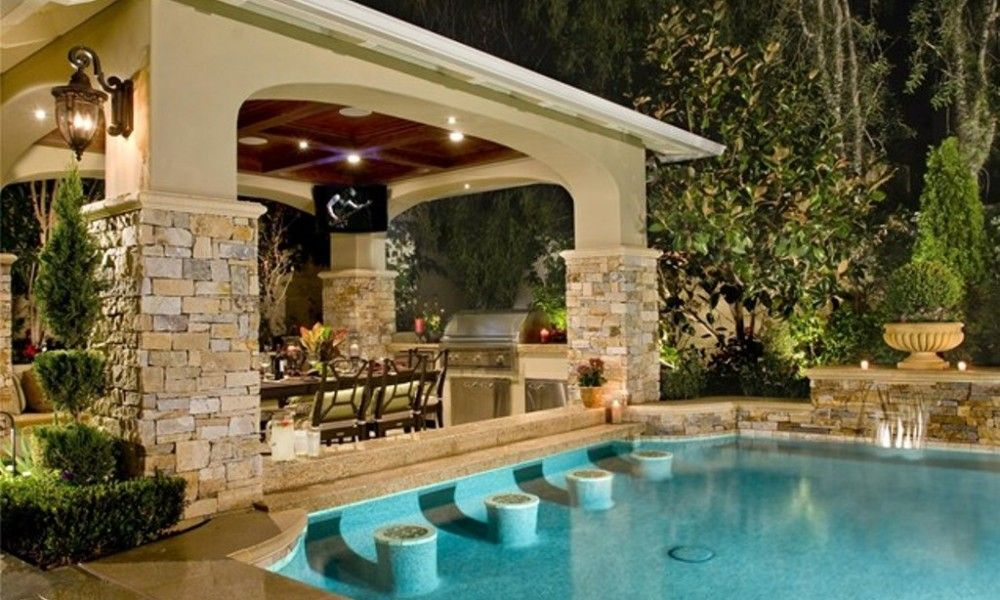 Backyard Designs With Pool And Outdoor Kitchen Designer Backyards Gorgeous Backyard Designs With Pool And Outdoor Kitchen