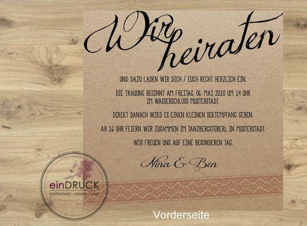 Eure Einladungskarte Zur Hochzeit Mit Individuellem Text Auf Der Vorder   Und Rückseite. Die Texte Können Individuell Nach Euren.