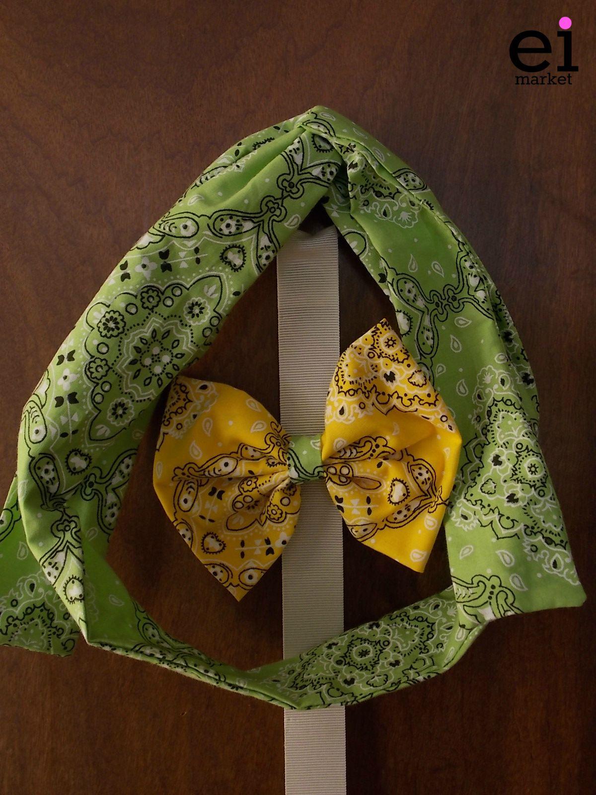 Faixa turbante regulável Verde para Mães - M: R$25 Laço Amarelo para Filhas - M: R$10