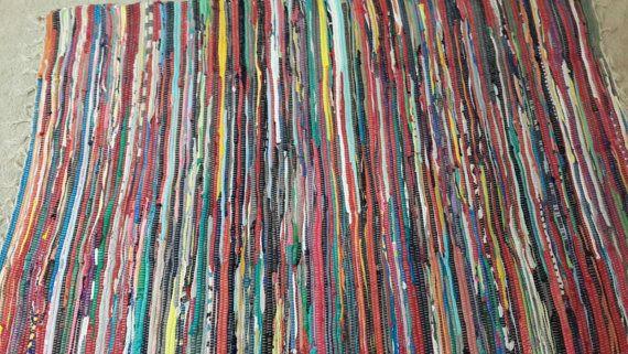 Large Bright Rag Rug S Multi Color Area Hand Woven Cotton Loom Floor Mat Boho Vegan