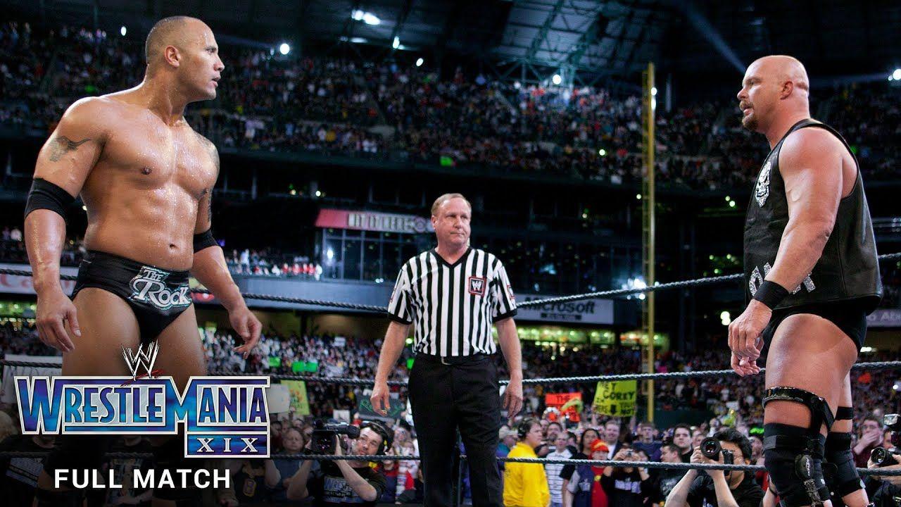 Full Match Stone Cold Steve Austin Vs The Rock Wrestlemania Xix Steve Austin Wrestlemania Austin Wwe