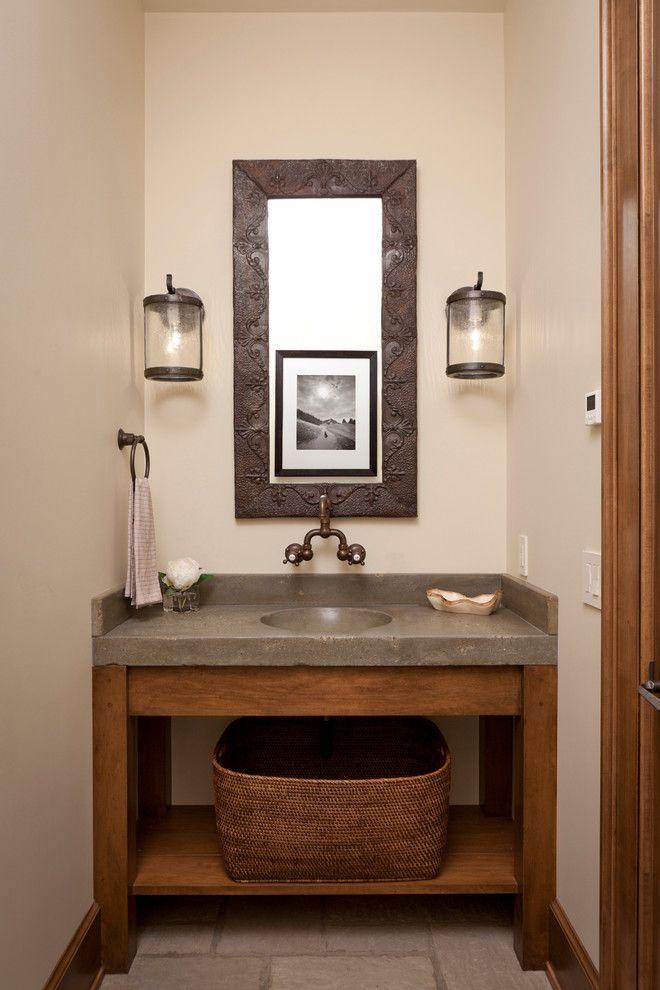 Open Shelving Vanities Rustic Google Search Concrete Bathroom Rustic Powder Room Powder