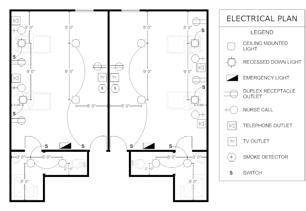 Example Image     Electrical       Plan     Patient Room in 2019