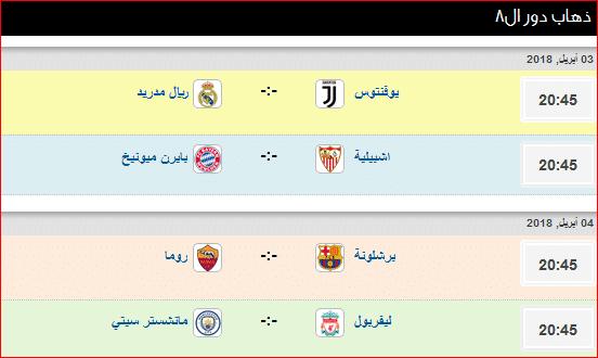 مواعيد مباريات الذهاب في دور الثمانية ببطولة دوري أبطال أوروبا 2018 نجوم مصرية Sports 45th