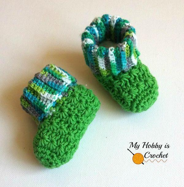 Galaxy Baby Booties - Free Crochet Pattern (Newborn - 6 Months) #starstitch #crochetbooties #myhobbyiscrochet