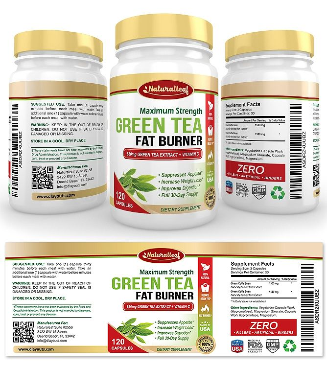 Green Tea Fat Burner Supplement Label Template  Creative Brochure