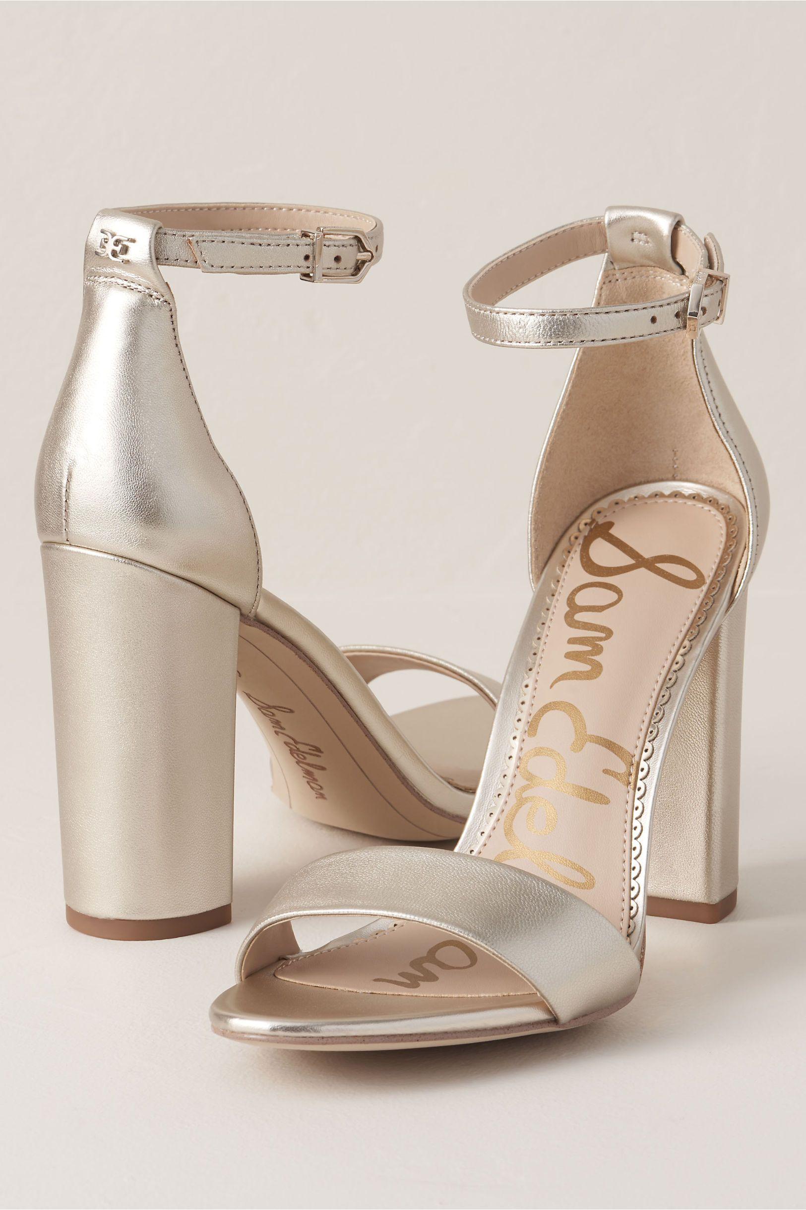 Sam Edelman Yaro Heels In Gold By Sam Edelman Gold Size 7 5