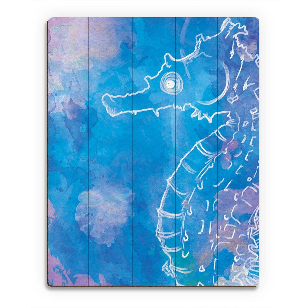 Seahorse watercolor dream wall art print on wood products