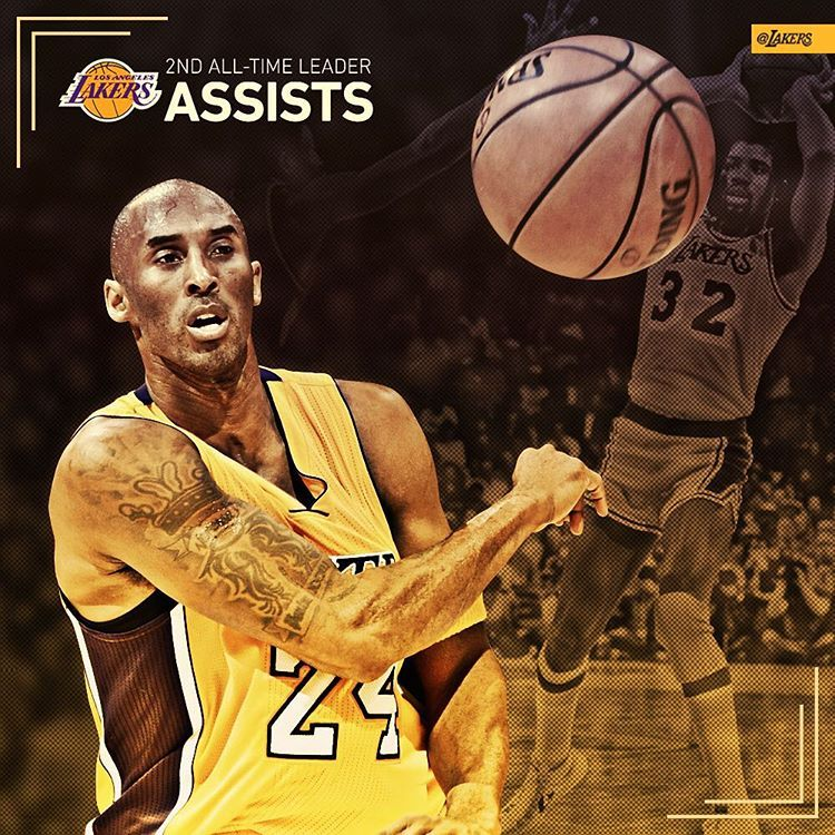 """Kobe Bryant passes Jerry West for the secondmost assists"