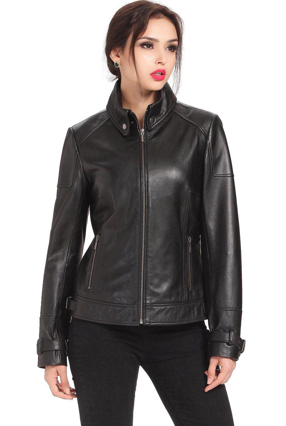 """Cruzer Women's """"Melanie"""" Cowhide Leather Motorcycle Jacket"""