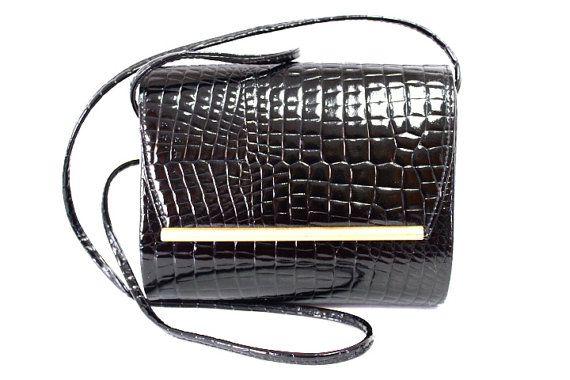 Vintage Black Faux Croc Embossed Ande Bag with by KMalinkaVintage