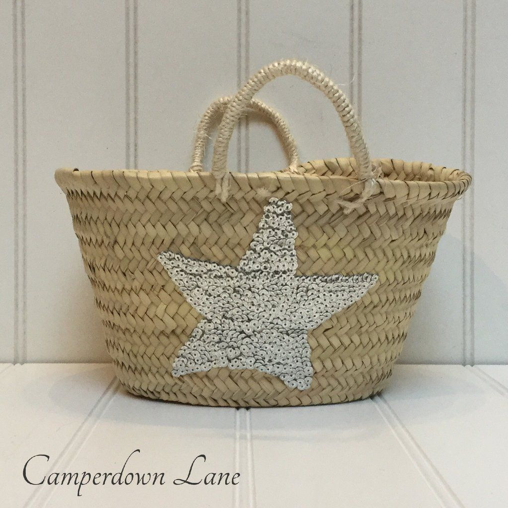 Small Natural Storage Basket with Silver Sequin Star