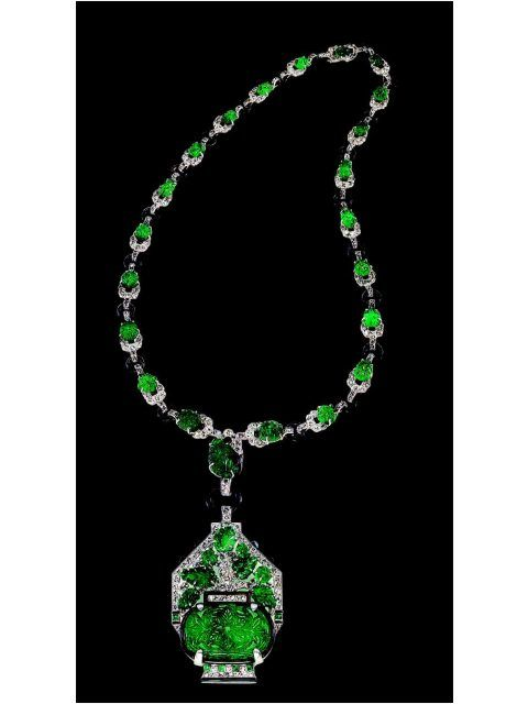 Emerald diamond necklace