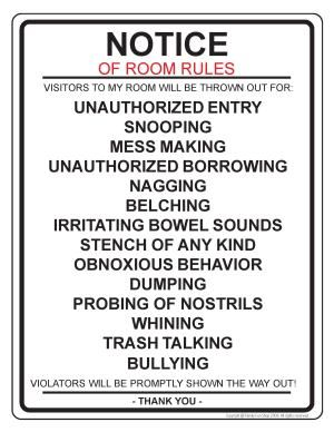 Bathroom Etiquette Signs Funny bathroom cleanliness rules | room rules notice door sign this