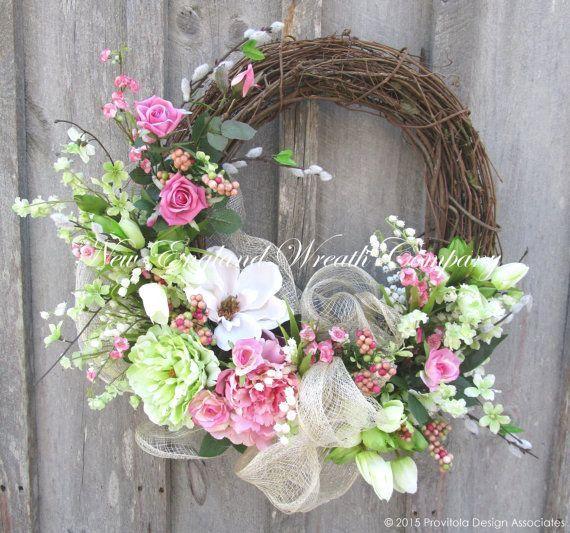 Photo of Spring wreath summer season wreath Elegant floral wreath back yard