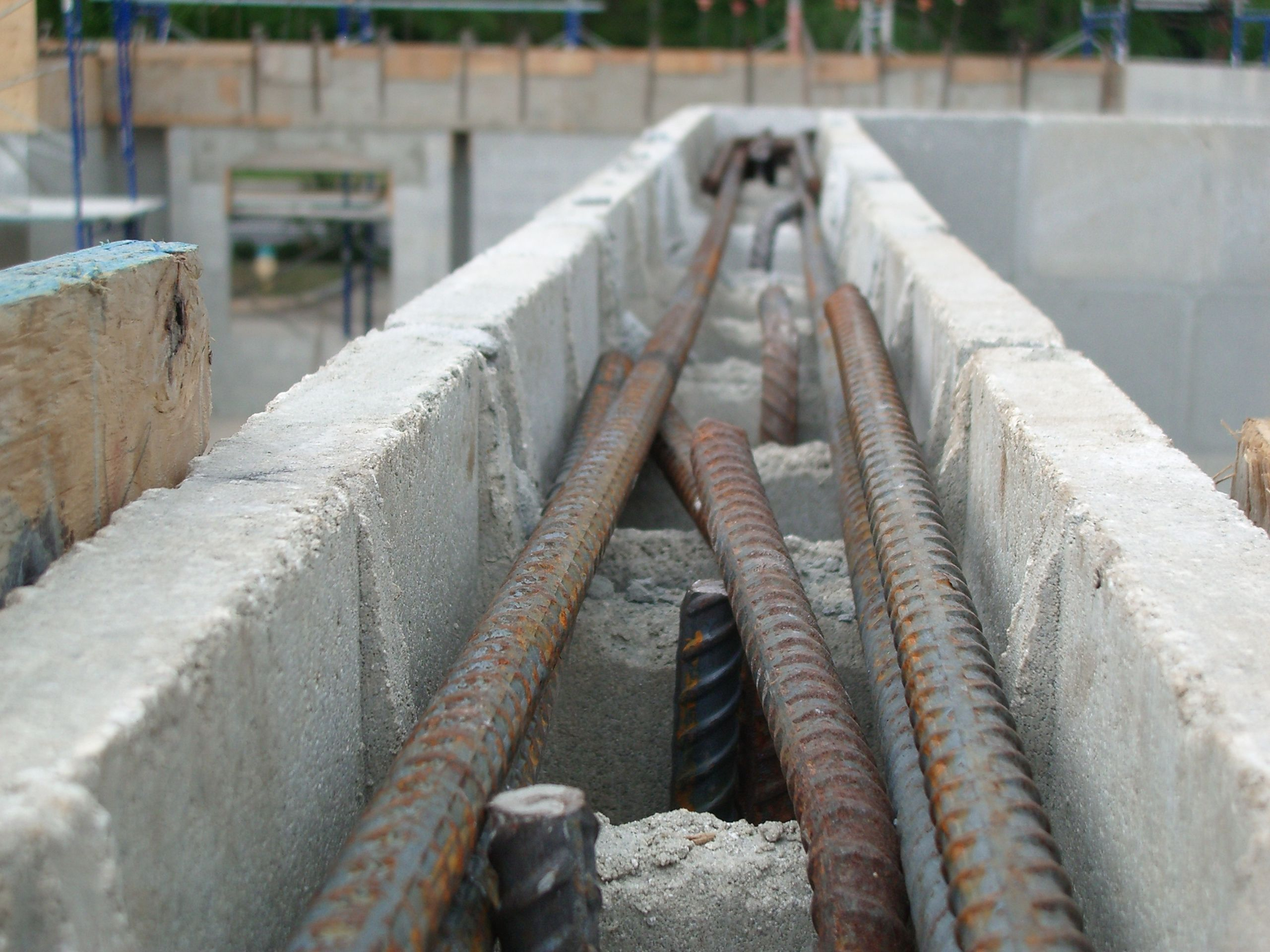 Rebar In Lintel Beam Under Construction Icf Home