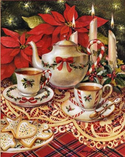 Pretty Christmas Tea Party Sandy Claugh Illustration
