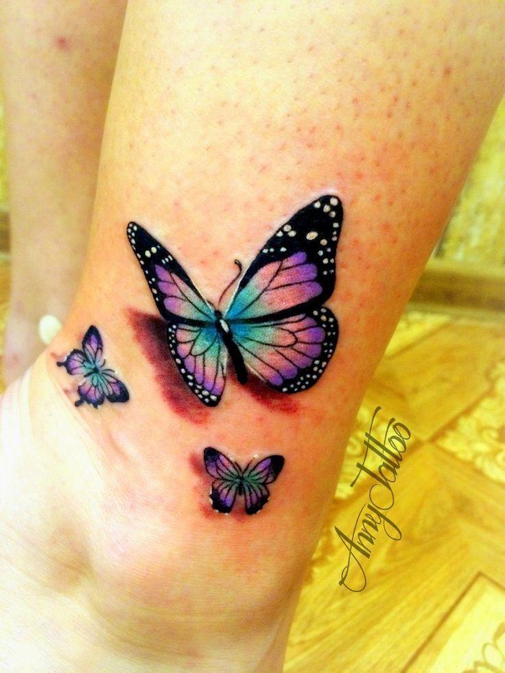 Photo of Butterfly tattoo on leg new school by Anna Osipova