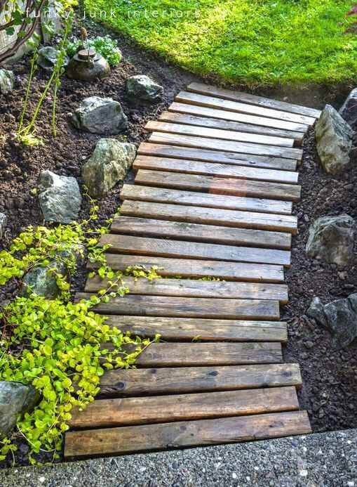 Recycling/reuse old #pallets into something useful and practical for your yard: a #garden foot path. #DIY