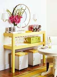Cheap coffee table turned buffet!!! Love this idea!