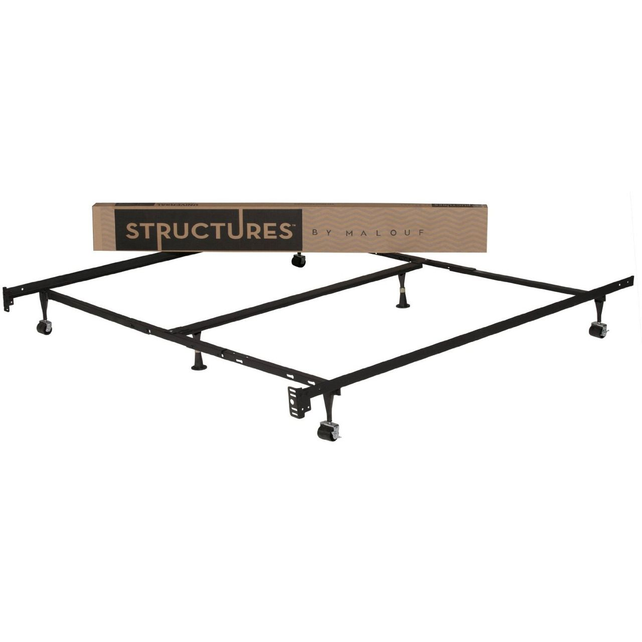 Queen Size Metal Bed Frame With Rug Rollers And Headboard