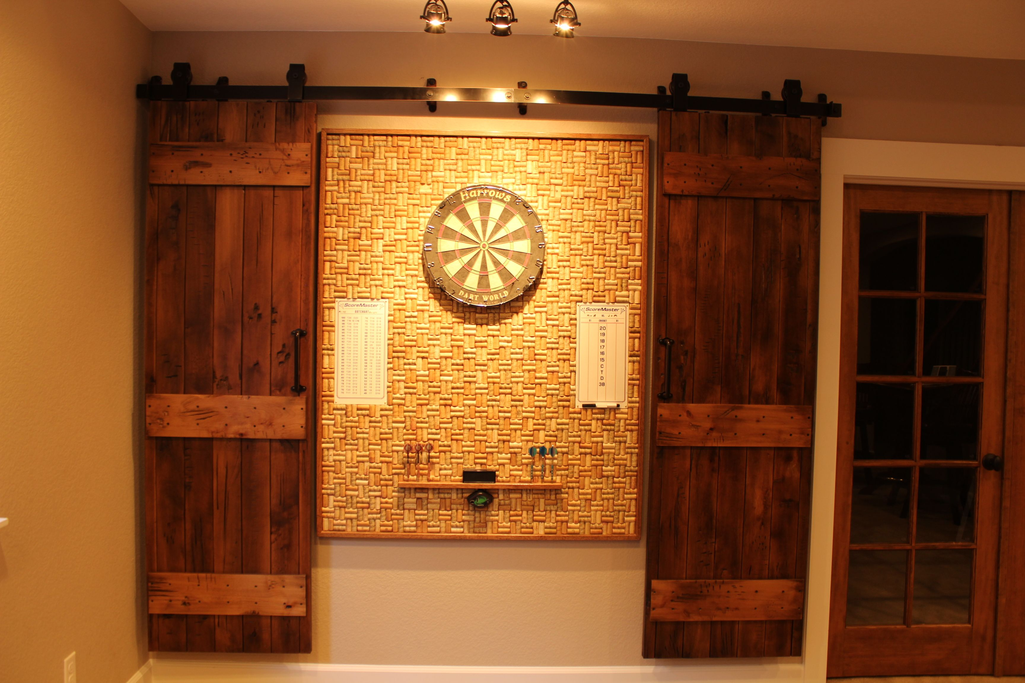 Wine Cork Dartboard Hidden With Barn Doors Dartboards Dart Board Basement Remodeling