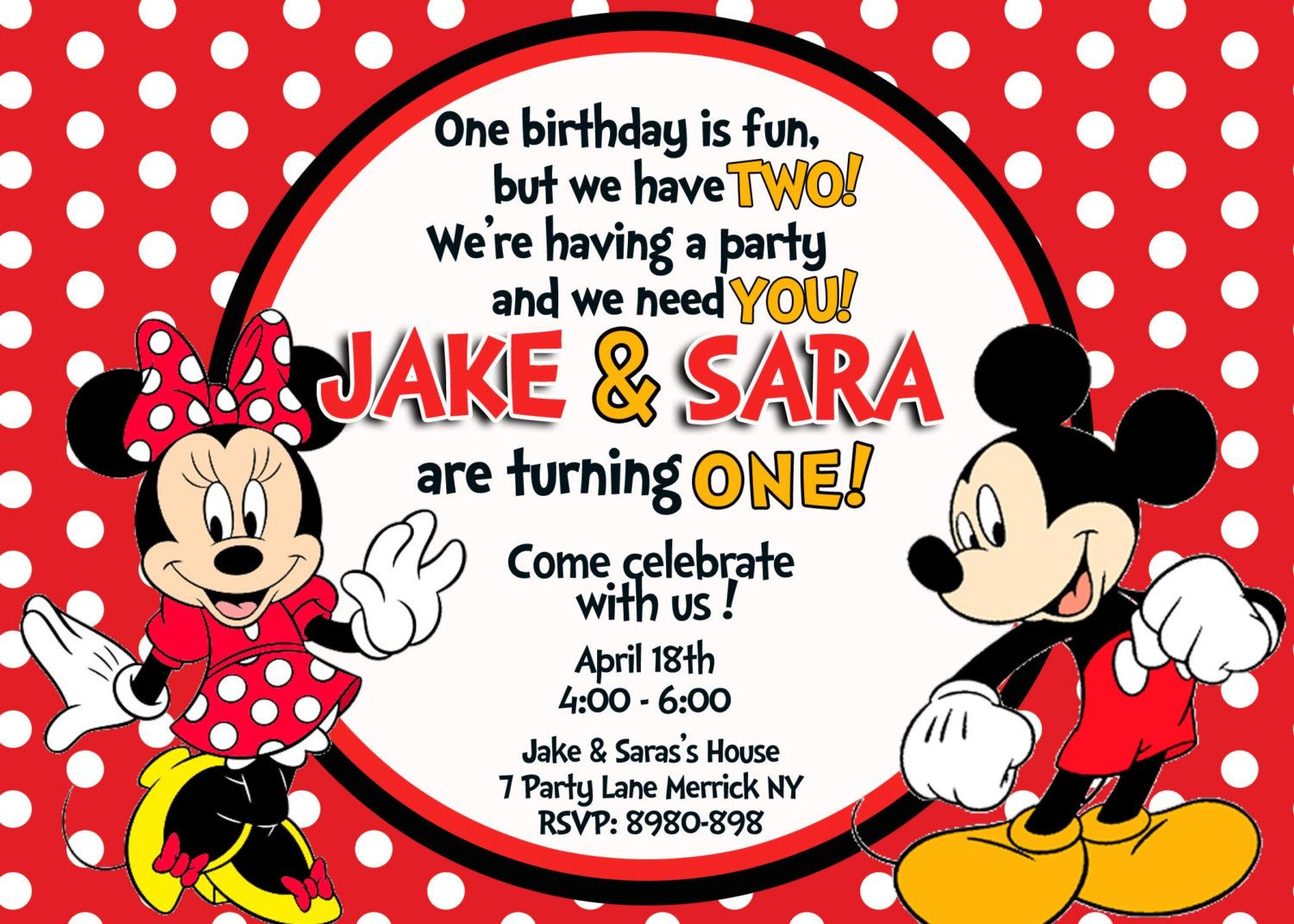 Mickey & Minnie Mouse Birthday Invitation by 123invites on Etsy ...