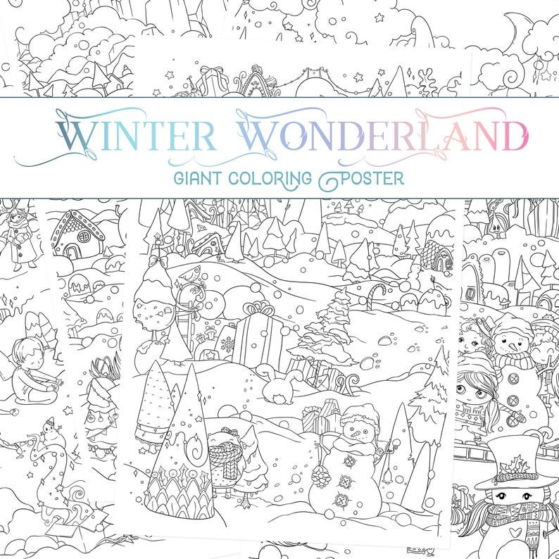 Winter Coloring Page / Christmas Coloring Pages Bundle