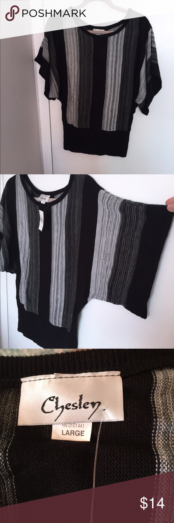 NWOT Black/Gray Kimono Sleeve Top Size L Never worn, 100% Acrylic knit top, I have another one in the closet that is pink and black in a size Medium. This top in Large measures 26 inches long top to bottom and chest of 20 lying down. Chesley Tops Blouses