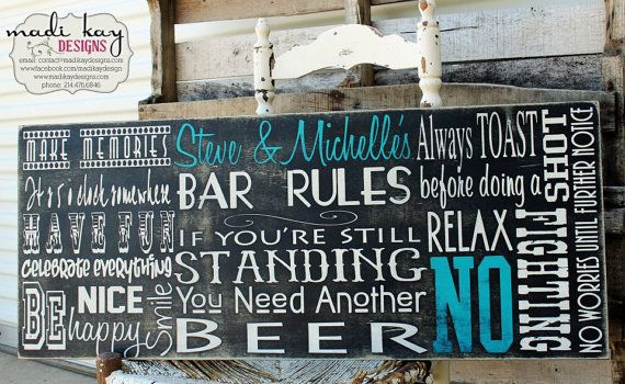 Man Cave Rules : Personalize bar rules sign man gift cave custom pub
