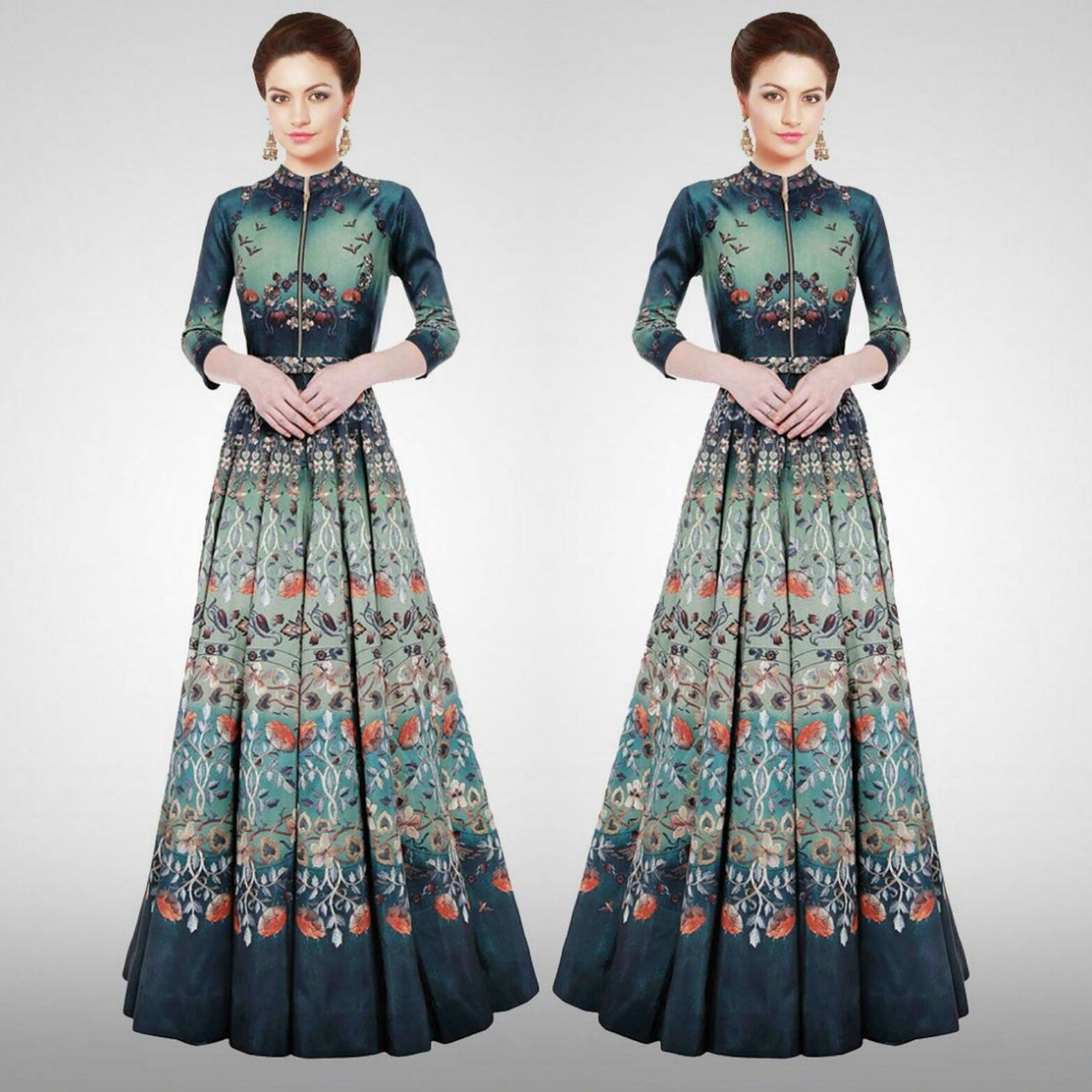 Twill Silk Semi Stitched Printed Gown  Product Info : STYLE: GOWN  SIZE: Free (Semi - Stitched)  FABRIC : Twill Silk  INNER FABRIC : Santoon WORK : Printed COLOUR : Turquoise LENGTH : 57 Inch  BUST SIZE: 40 Inch  WAIST SIZE : 42 Inch HIP SIZE : 52 Inch  FLARE : 3.50 Mtr Neck Type : Collar Neck SLEEVE TYPE: Half Sleeve /16 Inch WEIGHT : 1Kg OCCASION: Party, Festival, Casual, Reception  WASH CARE: Dry Clean Only (BOTTOM IS NOT AVAILABLE)  Price : 2200 INR Only ! #Boo..