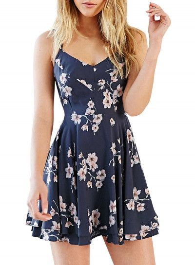 3da092acea47 Summer Women s Fashion Spaghetti Strap Floral Print Backless Mini Skater  Dress