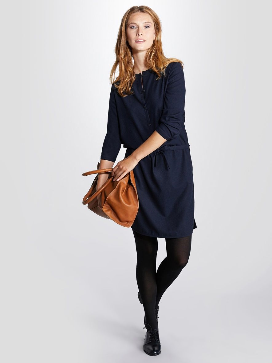 4858b78fce30 Damen-Kleid, Wolle von Cyrillus in marine - Gratis Rückversand!  Damenkleidung jetzt bei
