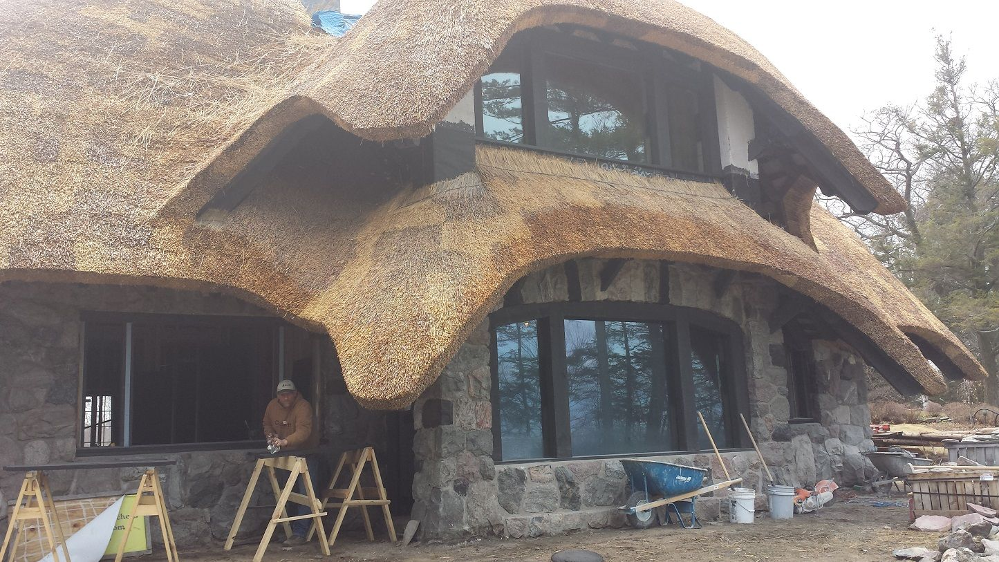 An amazing thatch roof house we stopped to look at on lake michigan south