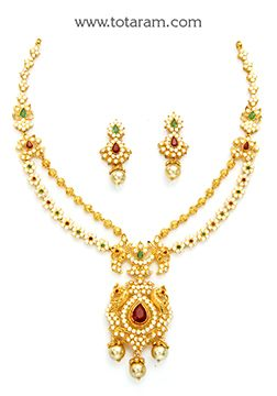 22K Gold Necklace Sets Gold necklaces Gold jewellery and India