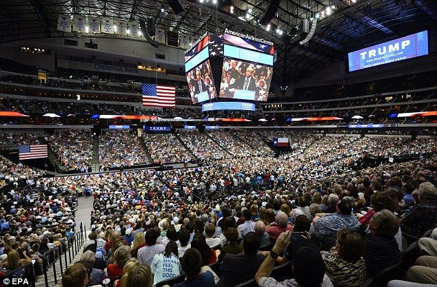 CROWD COUNT: At night's end the American Airlines Center said 20,000 people streamed into the arena to hear Trump speak