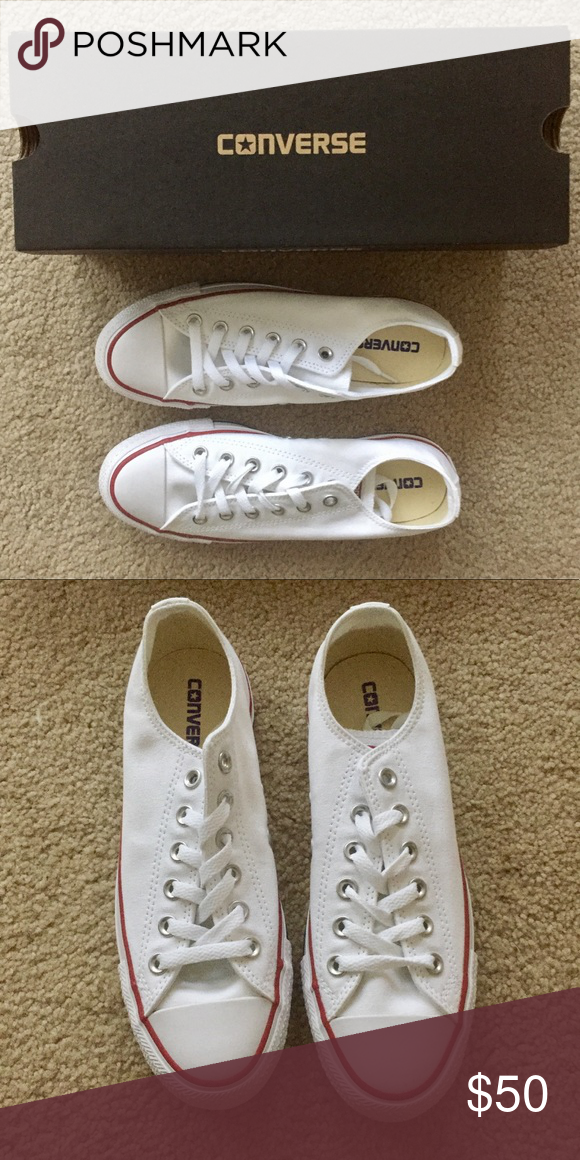 NWT White Converse size 8 These converse are brand new and have never been worn. I took them out of the box for the picture but that's the only time. Converse Shoes Sneakers
