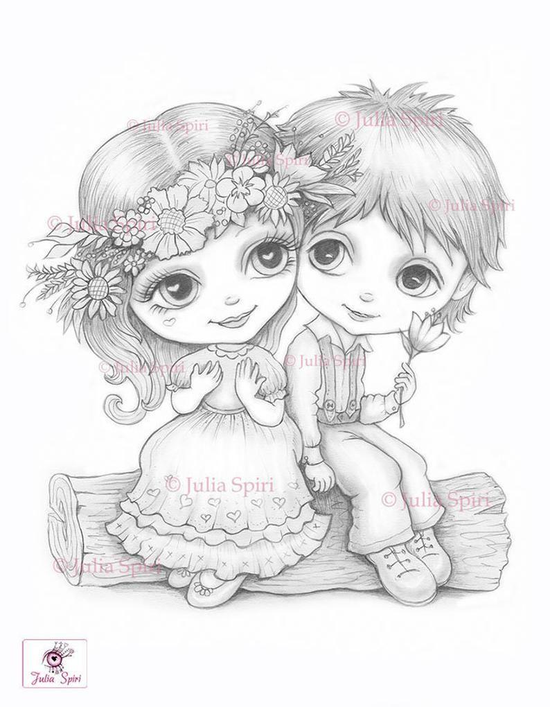 Love Coloring Pages Digital Stamp Digi Boy Girl Etsy Love Coloring Pages Digital Stamps Cute Drawings
